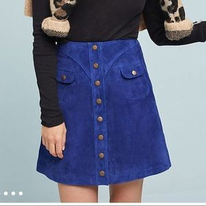 NWT Anthropologie Blue Suede Button Down Skirt